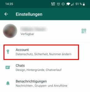 2. Wähle Account aus, um zu den Privatsphäreeinstellungen zu gelangen
